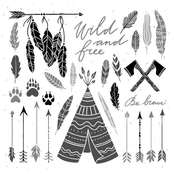 Ethnic Indian elements illustration set. Vintage feathers and arrows graphic elements Ethnic Indian elements illustration set. Vintage feathers and arrows graphic elements teepee stock illustrations