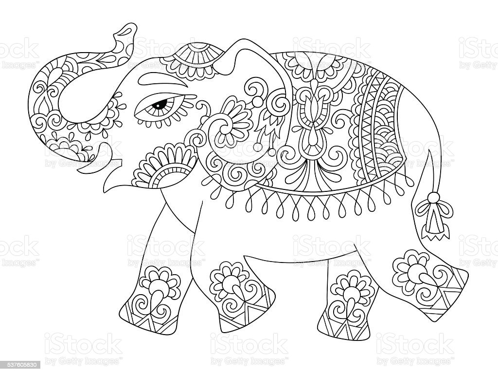 Elefante Indio étnica Línea Original Adultos Para Colorear Bo - Arte ...