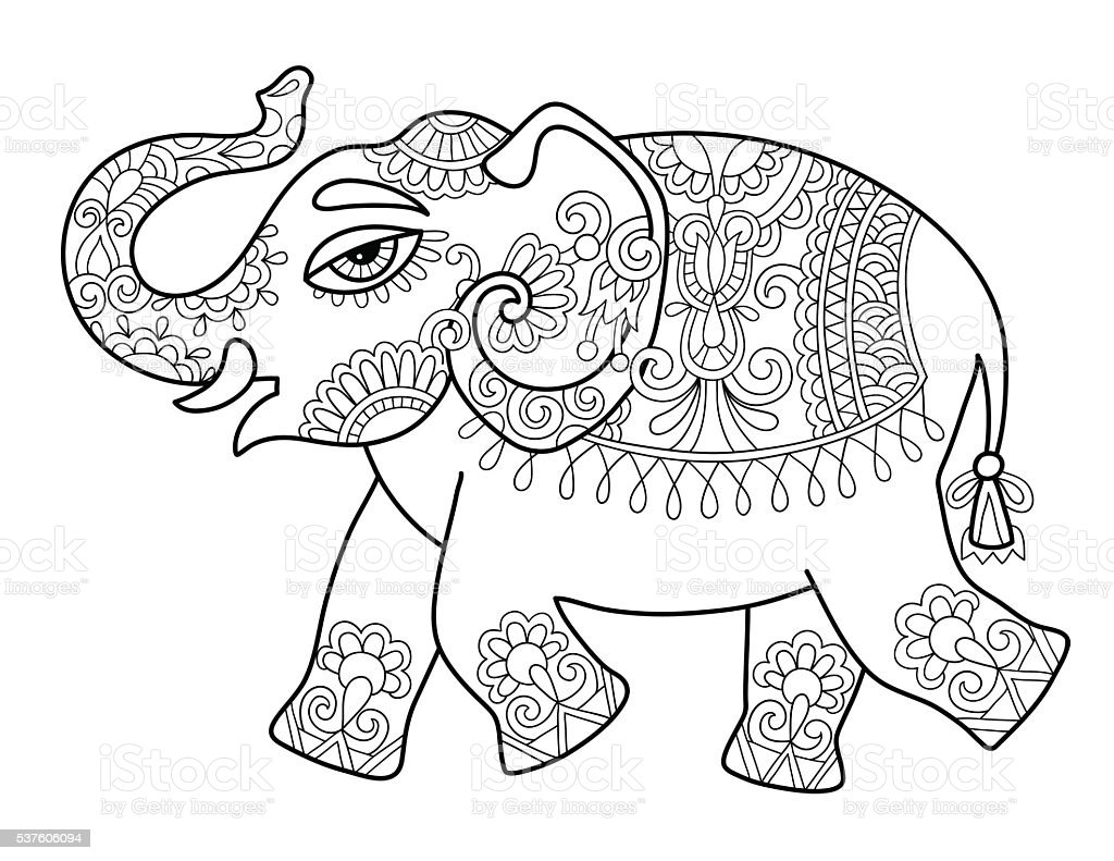 Coloring pages from india ~ Ethnic Indian Elephant Line Original Drawing Adults ...