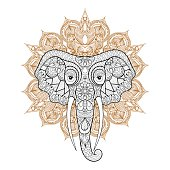Ethnic indian Elephant on mandala. Freehand s
