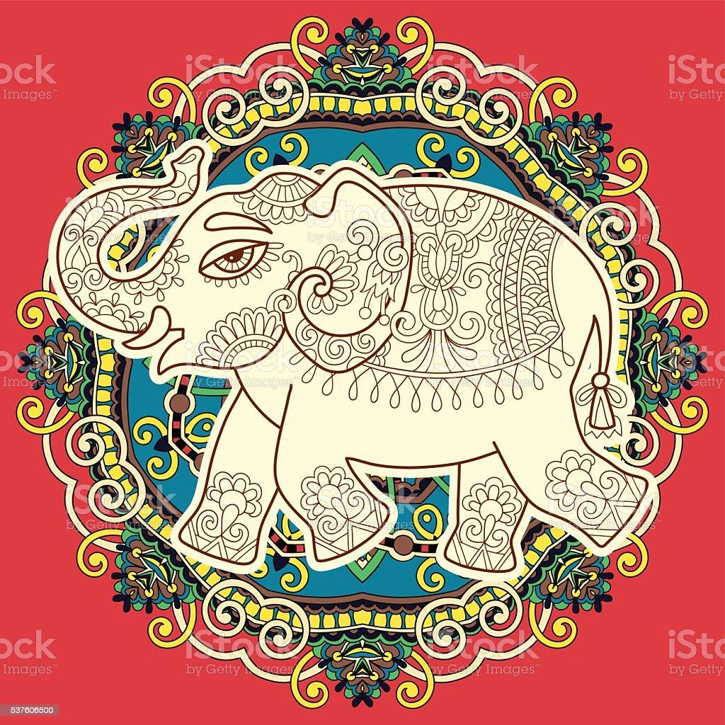 L phant indien ethnique motif cachemire fleuri dessin sur cercle stock vecteur libres de droits - Elephant indien dessin ...