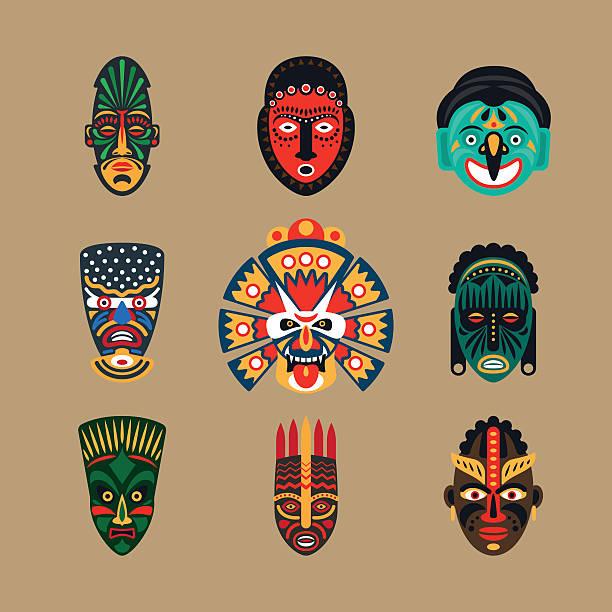 ilustrações de stock, clip art, desenhos animados e ícones de máscara étnica ícones - afro latino mask