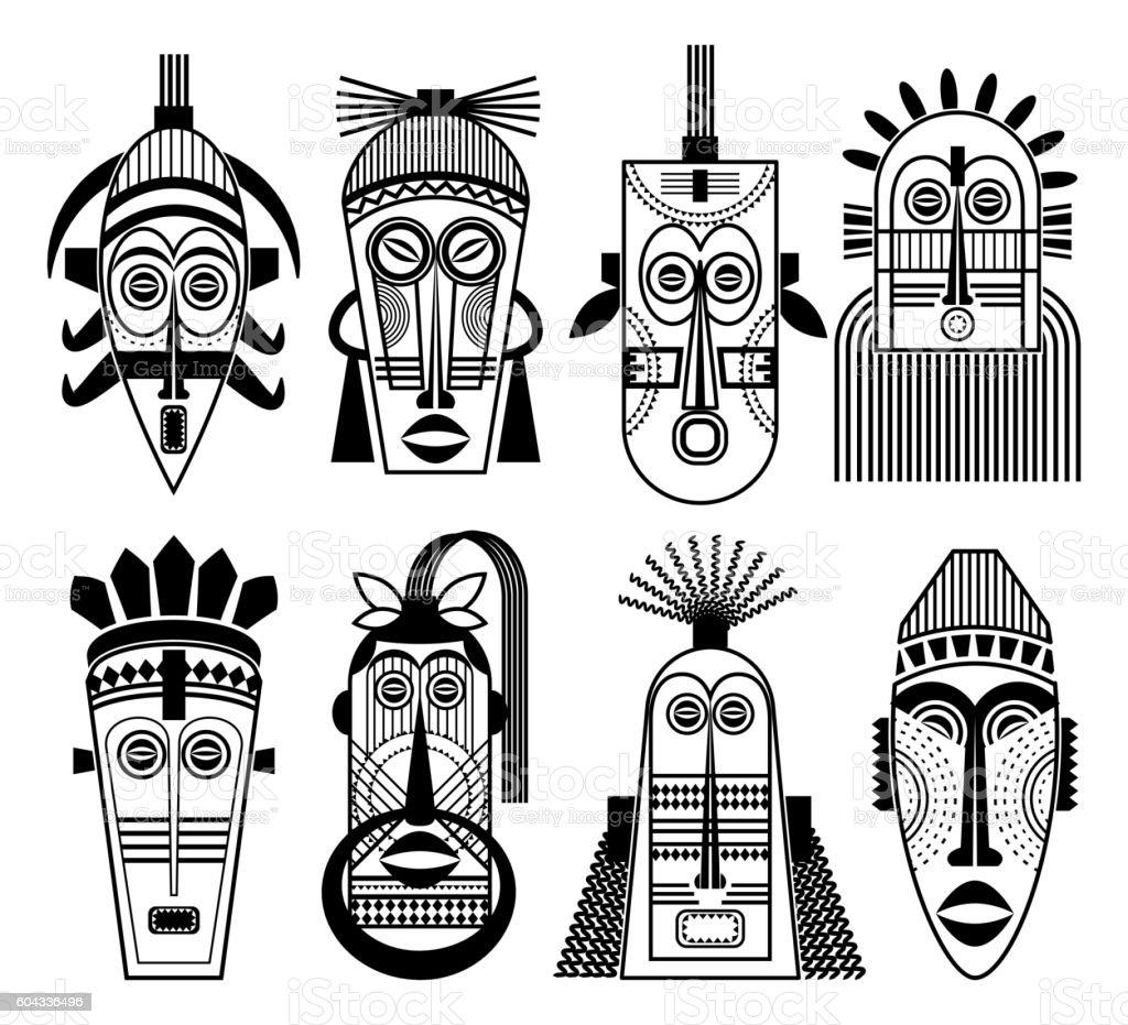 Ethnic masks or tribal mask flat icons vector art illustration