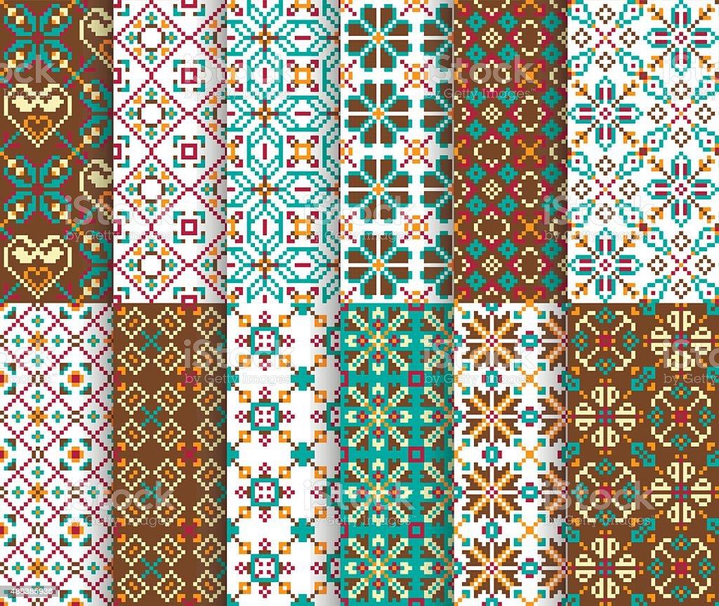Ethnic national seamless patterns vector art illustration