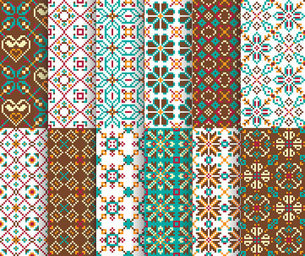Ethnic national seamless patterns vector art illustration