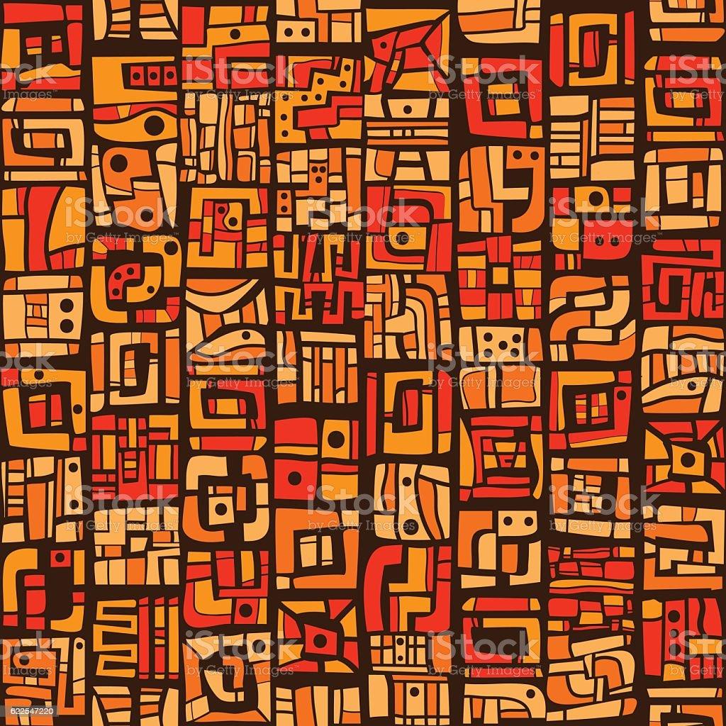 Ethnic orange pattern - ilustração de arte em vetor