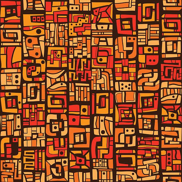 stockillustraties, clipart, cartoons en iconen met ethnic orange pattern - tribale kunst