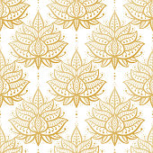 Ethnic Oriental Mehndi Lotus Flower Symbol Seamless Pattern. Golden Ornamental Floral Pattern Vector Background