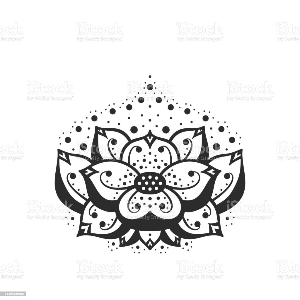 Ethnic Oriental Tattoo Mehndi Lotus Flower Symbol Line Black And