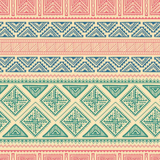 ethnic ornament seamless pattern - bohemian fashion stock illustrations, clip art, cartoons, & icons