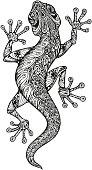 Ethnic ornamented salamander. Vintage graphic vector illustration