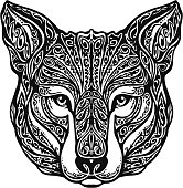 Ethnic ornamented wolf head. Vector illustration