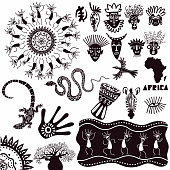 Ethnic ornaments of africa. A collection of ancient signs isolated on a white background. Vector set.