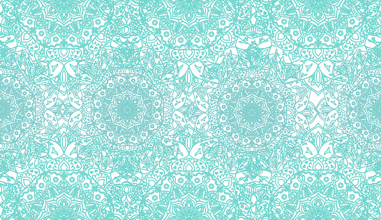 Ethnic outlined blue green mandala ornaments - seamless pattern