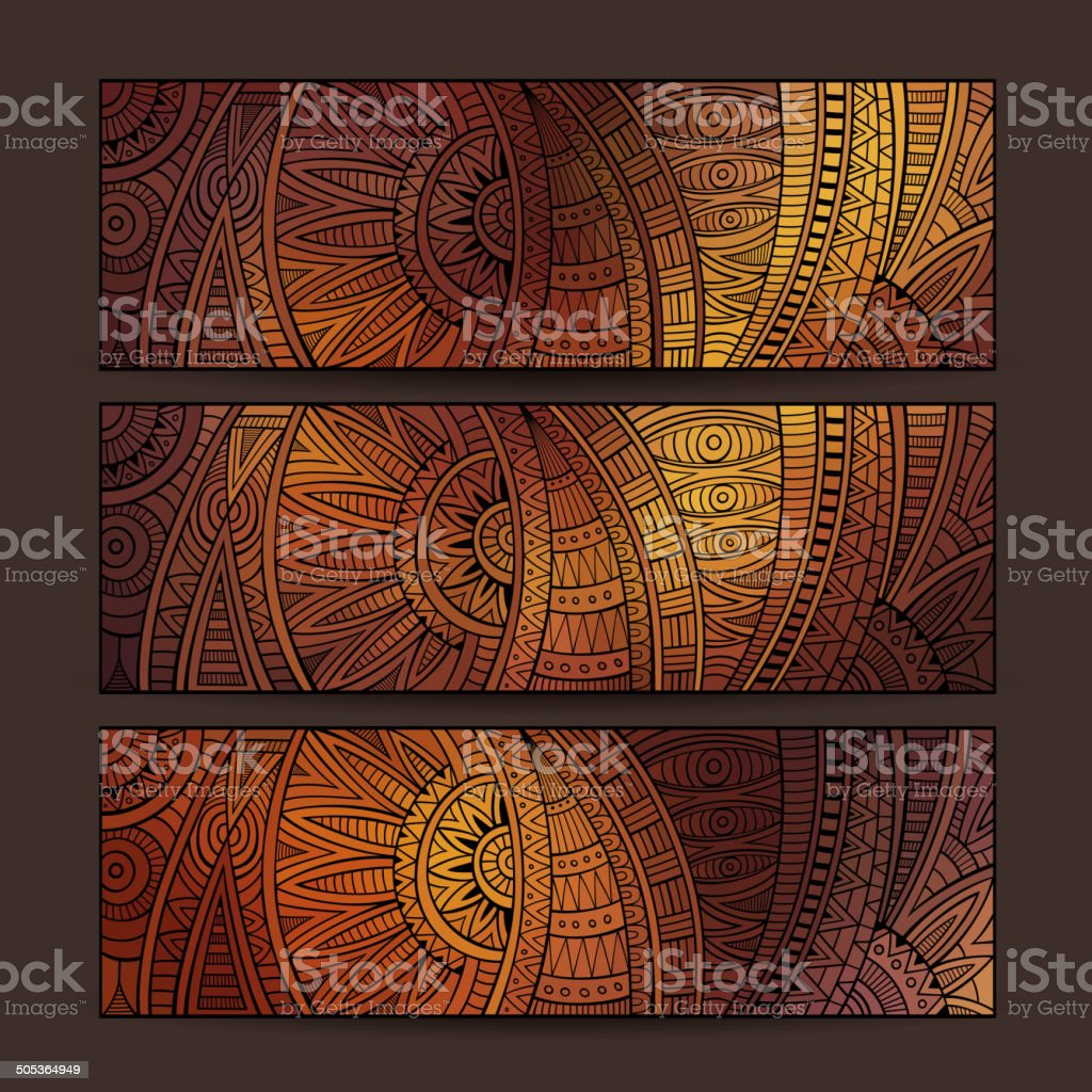 ethnic pattern card set. vector art illustration