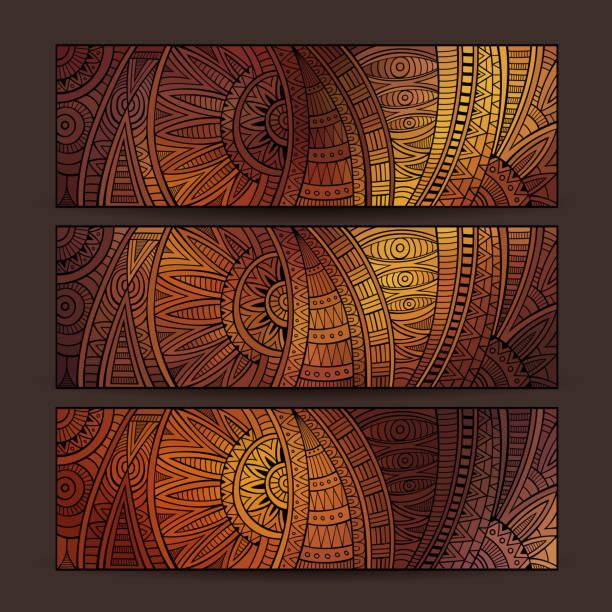 stockillustraties, clipart, cartoons en iconen met ethnic pattern card set. - tribale kunst