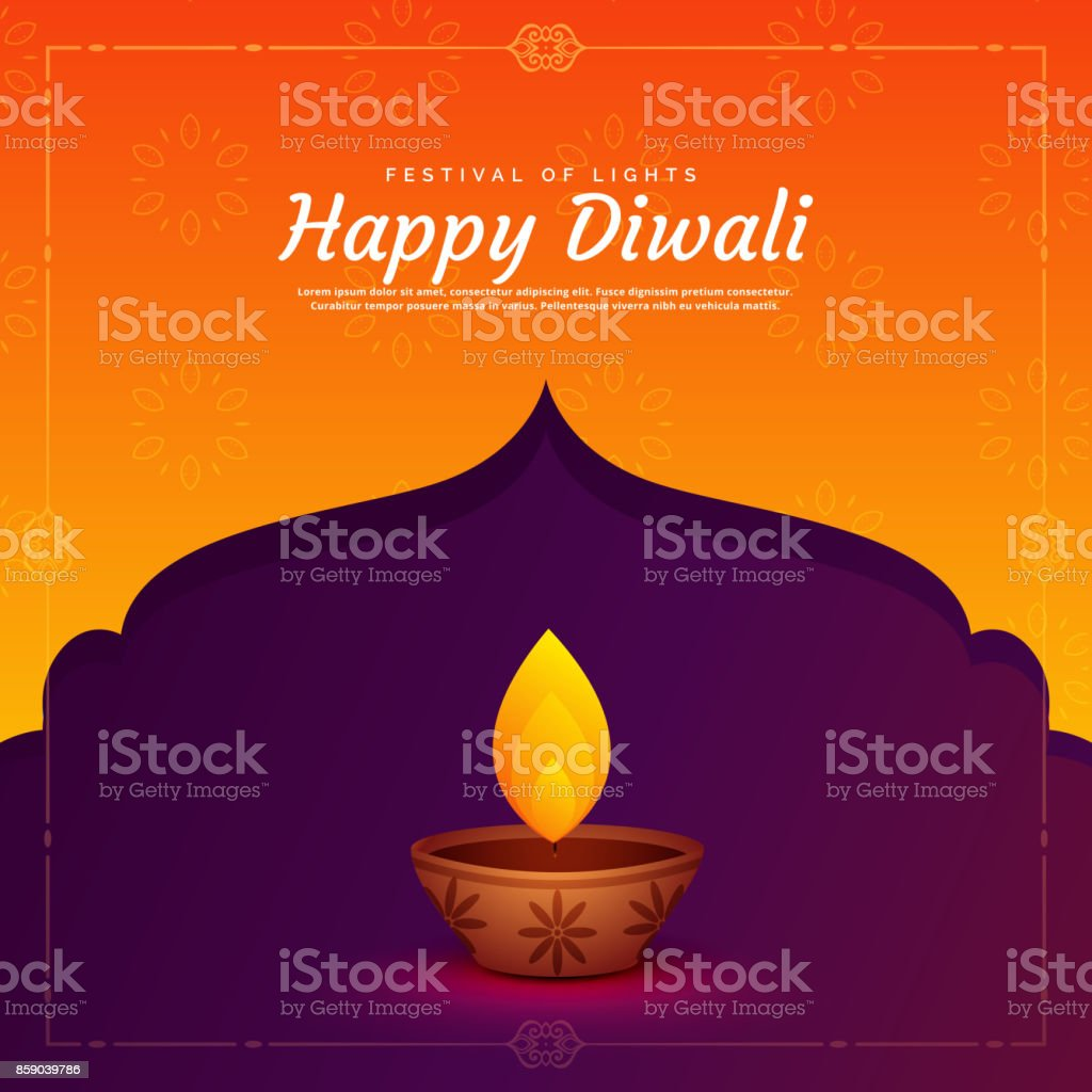 ethnic religious diwali festival background with diya lamp vector art illustration