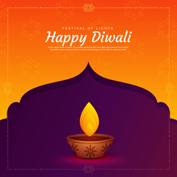 ethnic religious diwali festival background with diya lamp - diwali stock illustrations, clip art, cartoons, & icons