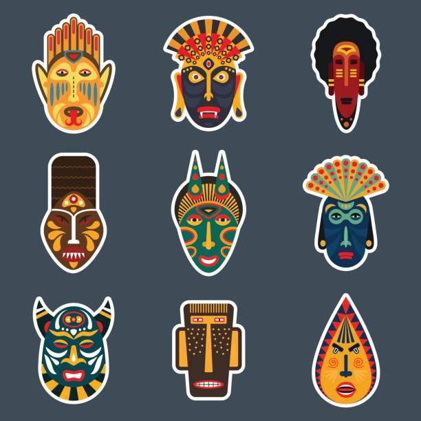 ilustrações de stock, clip art, desenhos animados e ícones de ethnic ritual masks stickers set in flat style. collection of african tribal mask icons. - afro latino mask