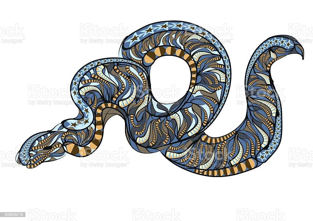 ethnic royal python vector art illustration