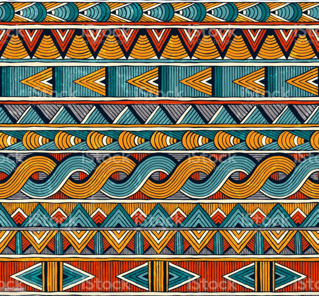 Ethnic seamless pattern. Hand drawn abstract geometric background. - ilustração de arte em vetor