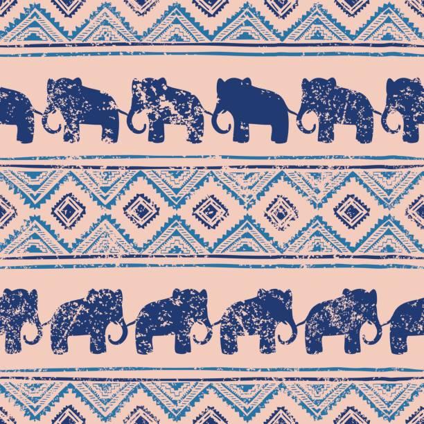 ethnischen nahtlose muster. - elefantenkunst stock-grafiken, -clipart, -cartoons und -symbole
