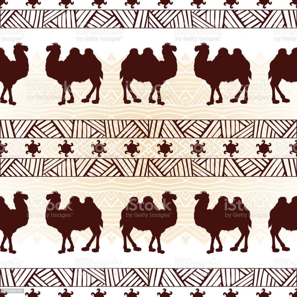 Ilustración de Étnicos De Patrones Sin Fisuras Con Los Camellos ...