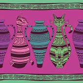 Colorful ethnic seamless pattern with ornated cats and vases. Included Ai
