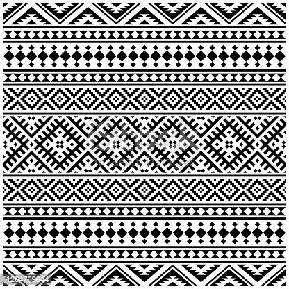 istock ethnic seamless patterns illustration vector. Aztec geometric backgrounds. 1264769644