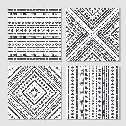 Ethnic seamless patterns. Set of aztec geometric backgrounds.