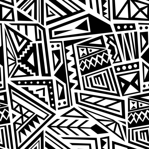 stockillustraties, clipart, cartoons en iconen met etnische naadloze vector - tribale kunst