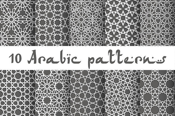 Ethnic seamless vector Ethnic islamic pattern set. Seamless vector geometric background in arabic style morocco stock illustrations