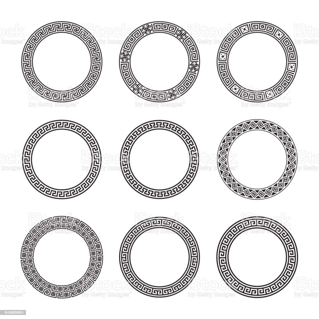 Ethnic set collection. Antique borders in black color on the white background. Greek round frames vector art illustration