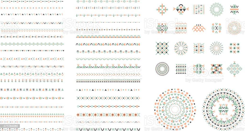Conjunto de Cepillos de diseño étnico y elementos de decoración. Aislado - ilustración de arte vectorial