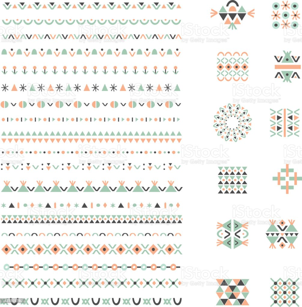 Ethnic set of Pattern Brushes plus decor elements. Isolated vector art illustration