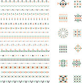Ethnic set of Pattern Brushes plus decor elements. Isolated