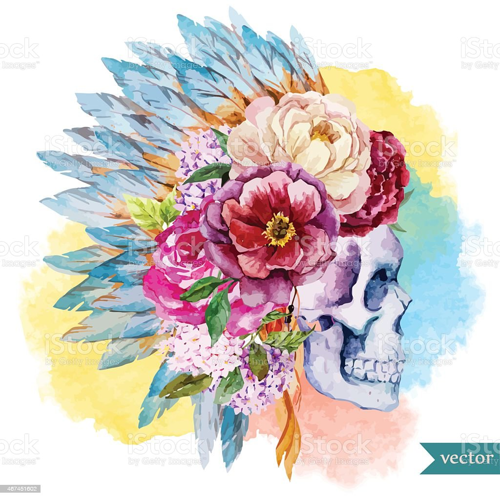 Ethnic skull vector art illustration