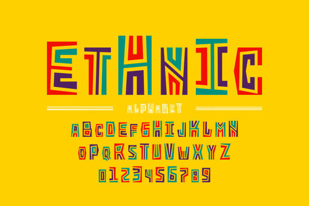 Ethnic style font Ethnic style font design, alphabet letters and numbers, vector illustration origins stock illustrations