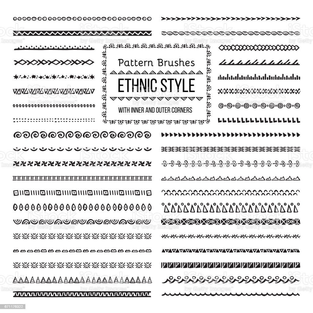 Ethnic Style Pattern Brushes Set vector art illustration