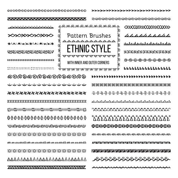 ethnic style pattern brushes set - tribal pattern stock illustrations, clip art, cartoons, & icons