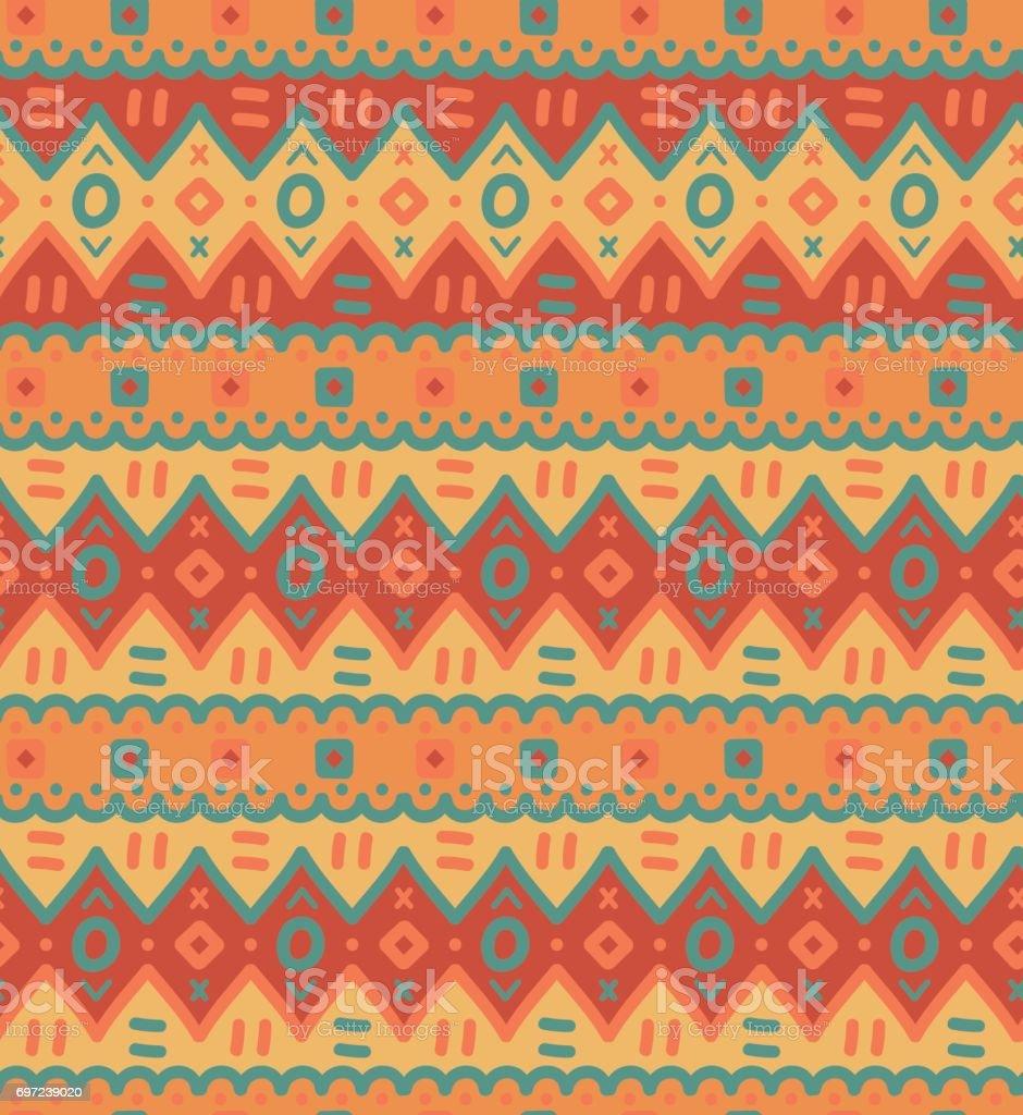 Ethnic textile bright decorative native ornamental striped seamless pattern. vector art illustration