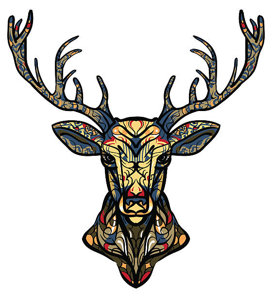 Ethnic totem of a deer. A tattoo of a deer with an ornament. - ilustración de arte vectorial