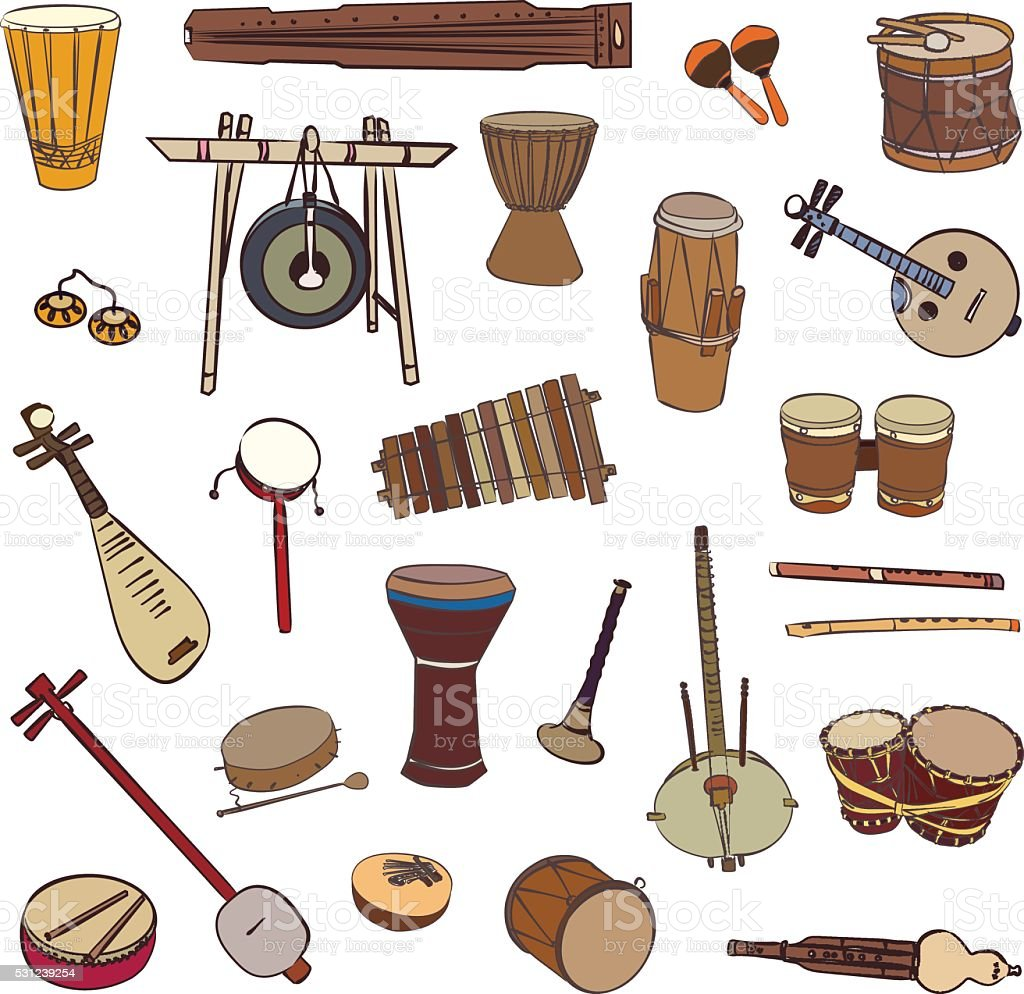 Ethnic traditional musical instruments vector art illustration