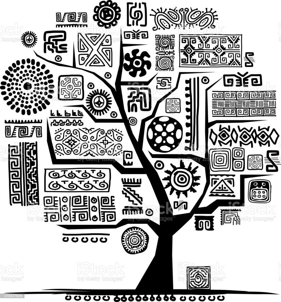 Ethnische Baum mit handgefertigten ornament für Ihr design – Vektorgrafik