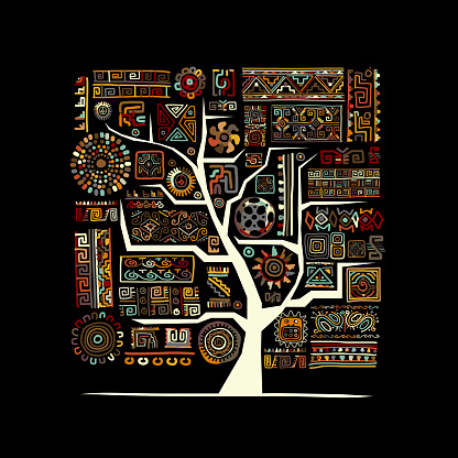 Ethnic tree with handmade ornament for your design