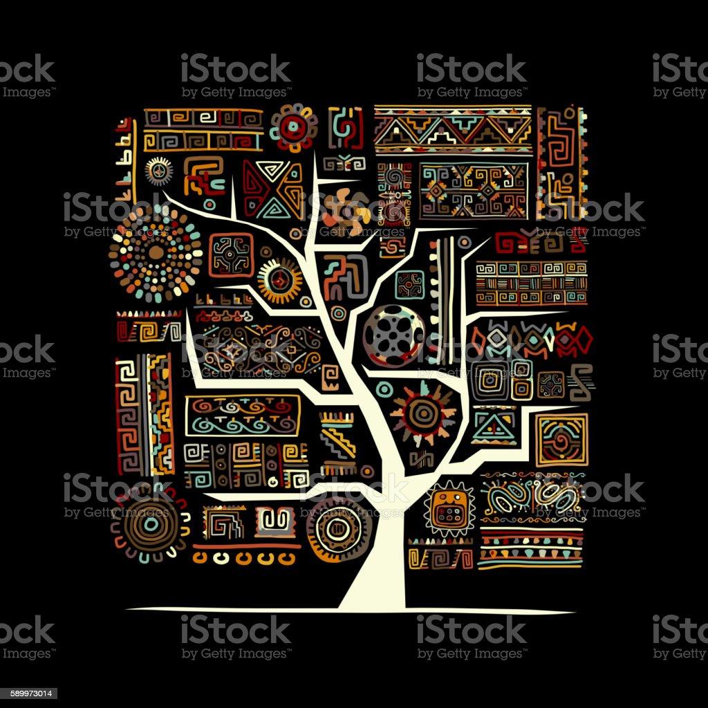 Étnica, árbol y adorno artesanales para su diseño  - ilustración de arte vectorial