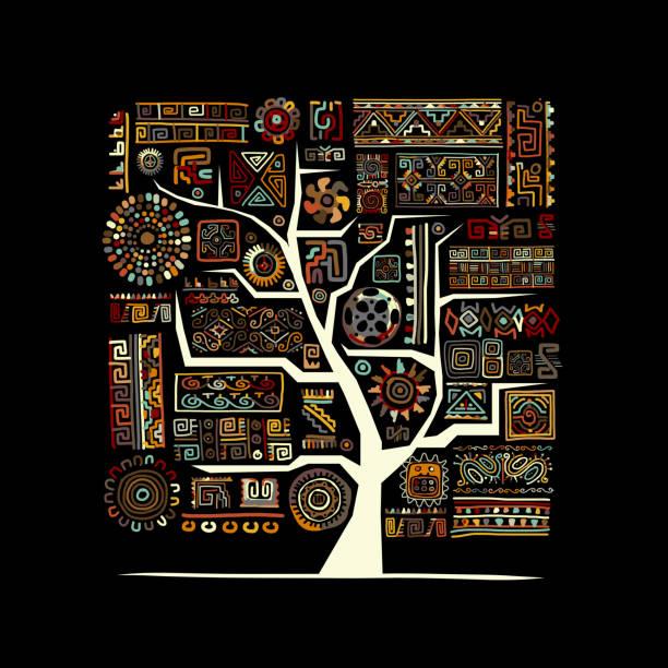 ethnische baum mit handgefertigten ornament für ihr design  - stammes tattoos stock-grafiken, -clipart, -cartoons und -symbole