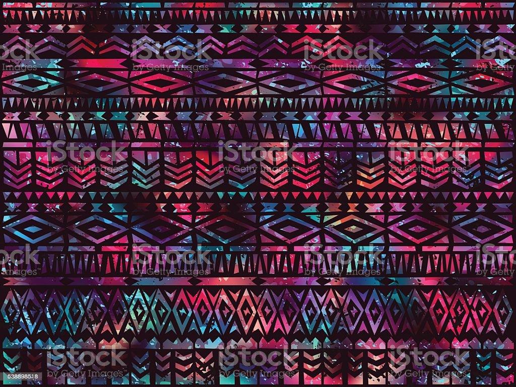Fondo étnico tribal aztec noche de verano, 1 - ilustración de arte vectorial