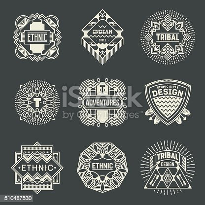 istock Ethnic Tribal Insignias Logotypes Template Set. 510487530