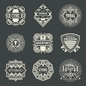 Ethnic Tribal Insignias Logotypes Template Set.